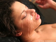 Ghetto Gaggers Alexis Silver - Ebony chick is tag teamed and given a facial